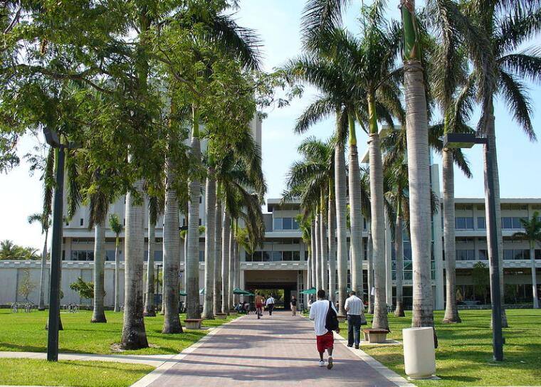 Library entrance at the University of Miami, the second among the best universities in Florida